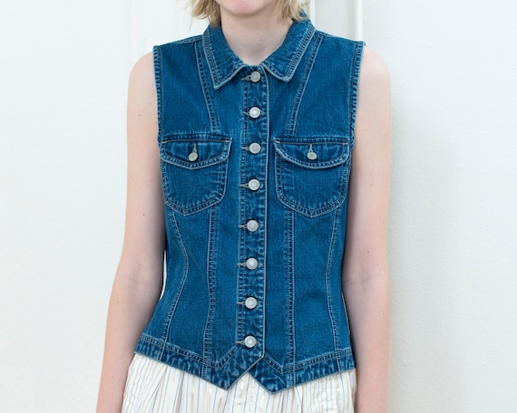 90s gap denim vest medium | gap button down jean v