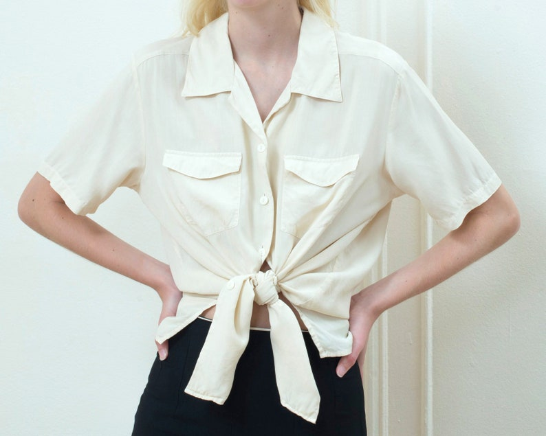 ec2bdcc3b4bf12 90s white silk blouse large ivory silk button down shirt