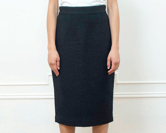 black wool pencil skirt medium | 90s minimalist gi