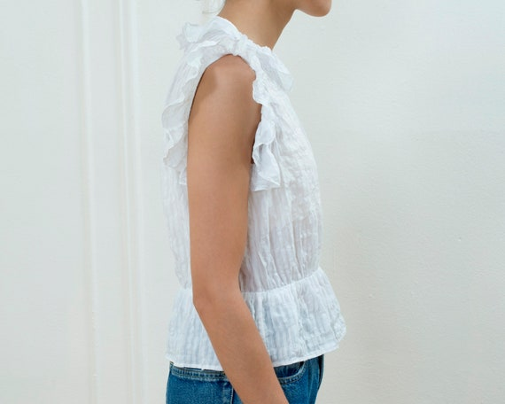 90s white cotton ruffle blouse small | sheer stri… - image 5