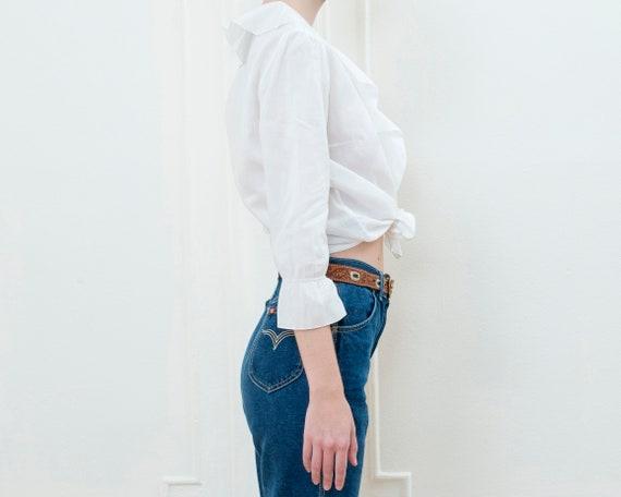 90s ralph lauren white ruffle collar cotton blous… - image 4