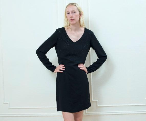 a39e8ccb975 black mini dress 90s crystal encrusted short cocktail dress