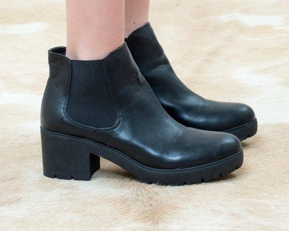 90s steve madden black platform leather boots 10 4
