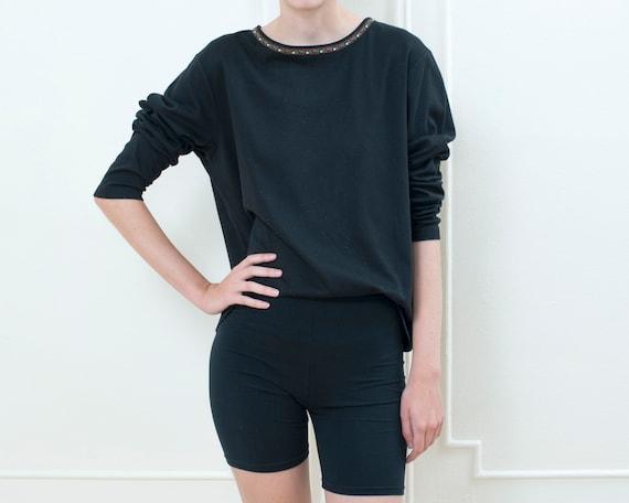 90s black trachten tshirt | oversized long sleeve