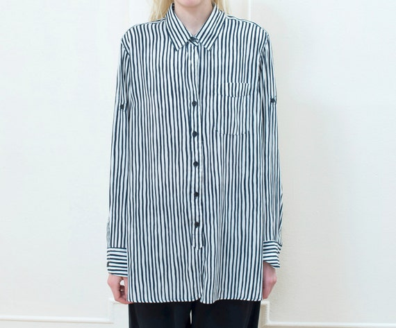 navy striped shirt large | blue white button down