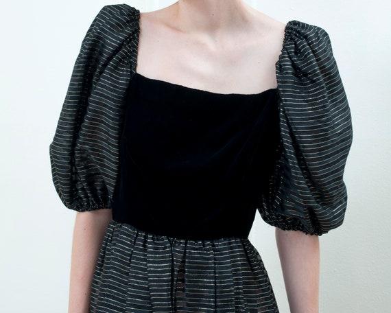 80s black party dress | striped metallic puff sle… - image 2