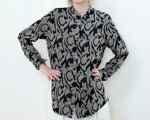80s black paisley blouse   print sheer silky blous