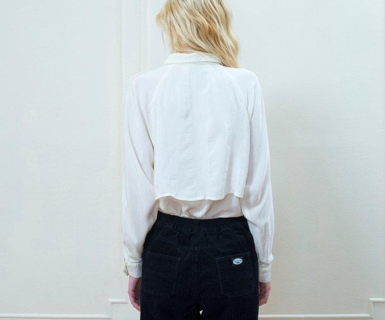 minimalist blouse cream silky collared shirt 80s white silk blouse medium ivory silky button down shirt minimal dramatic blouse