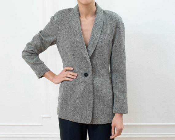 90s tan wool power blazer | small round shoulder n