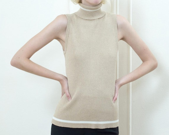 90s beige sleeveless turtleneck sweater large | mi