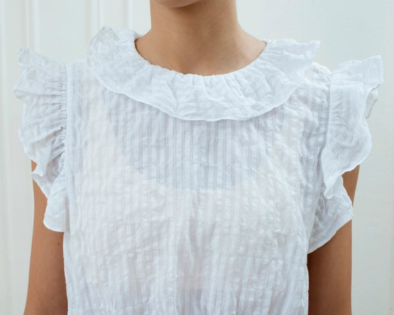 90s white cotton ruffle blouse small | sheer stri… - image 2