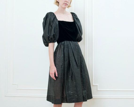 80s black party dress | striped metallic puff sle… - image 6