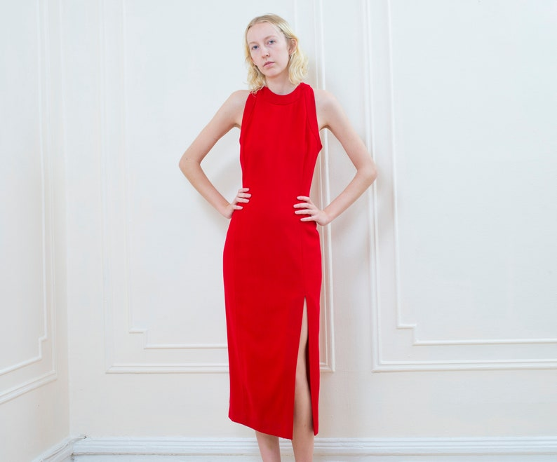 price look out for shop for original 80s red halter dress small | cherry red cocktail dress | veronica lake  dress | evan picone minimal red dress | slit leg body con party dress