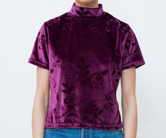 90s dark purple velvet top | floral velvet burgund