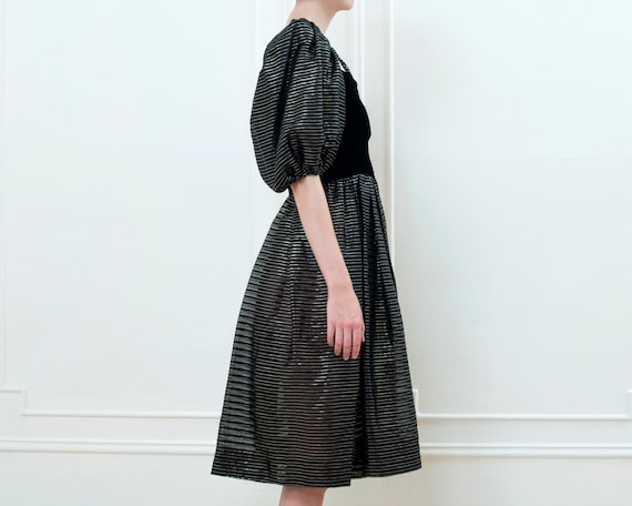 80s black party dress | striped metallic puff sle… - image 7