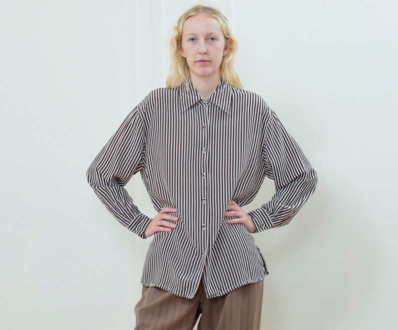 4994524e3e931 90s brown striped silk blouse large silk button down shirt