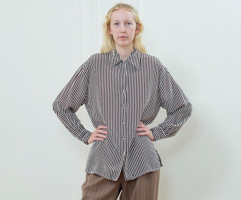 180a493745f290 90s brown striped silk blouse large silk button down shirt