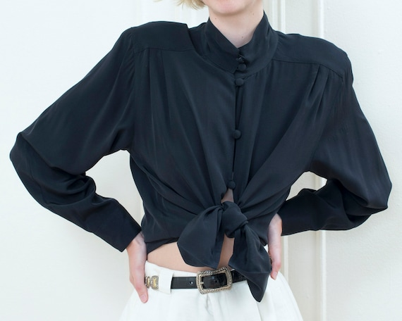 80s black big puff sleeve high neck blouse | minim
