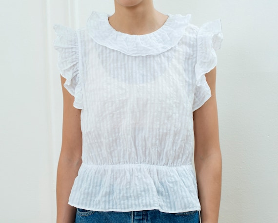 90s white cotton ruffle blouse small | sheer stri… - image 3