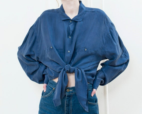 90s perry ellis blue silk blouse xl | oversized b… - image 6