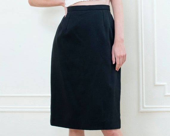 90s black cotton pencil skirt 29 waist | minimalis
