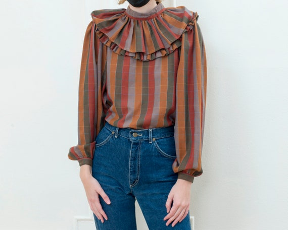 brown striped ballon sleeve blouse   70s ruffle c… - image 3