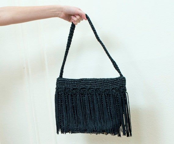 90s black straw bag | woven bag | raffia bag | fri