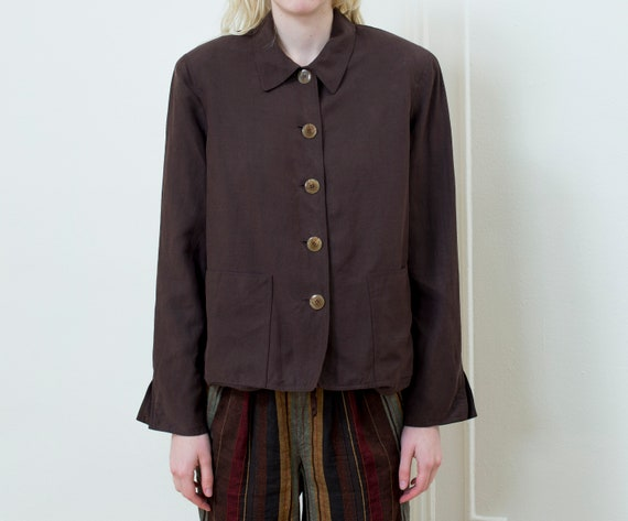 90s brown silk blazer medium   jones new york dark