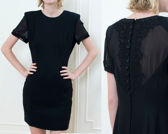 Large Low Cut Minimalist Sheer Cocktail Evening Dress Shortened Art Deco Clothing , LBD with Sleeves 30s Vintage Little Black Dress