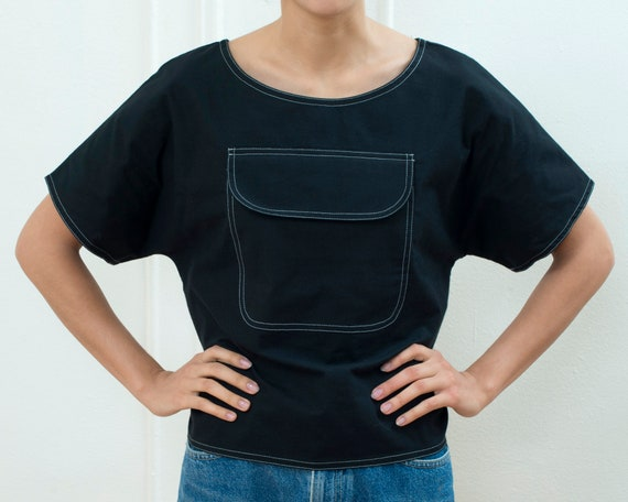 90s black cotton pocket blouse medium | patch pock