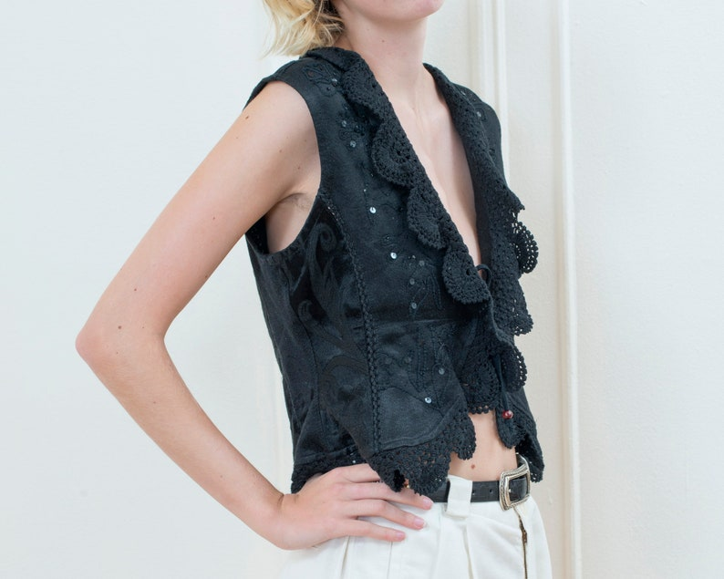 crochet knit bohemian vest boho hippie evening vest cropped formal bow tie vest 80s black crochet embroidered tie front vest medium