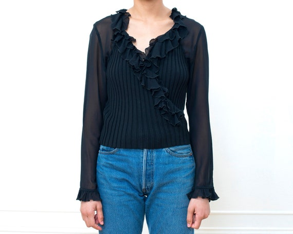 90s black sheer ruffle blouse small | minimalist r