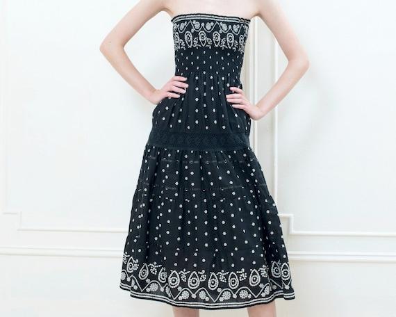 90s black strapless batik print dress | bohemian a