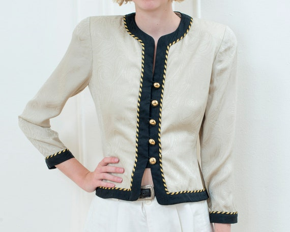 80s gold silk power suit evening blazer 2 | small