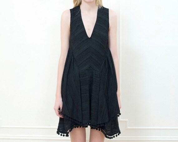 90s little black dress small   black pom pom party