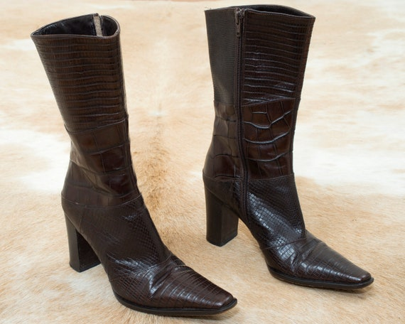 90s brown embossed leather boots 6 | high block he
