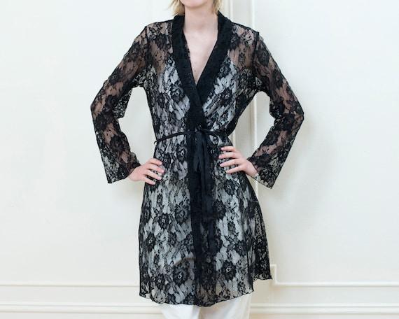 80s black lace robe | minimalist romantic sheer bl