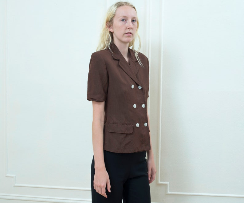 minimal double breasted chocolate brown safari jacket 80s minimalist short sleeve fitted jacket brown linen blazer small