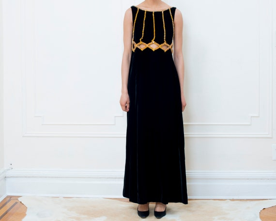 70s black velvet maxi dress small | bohemian maxi