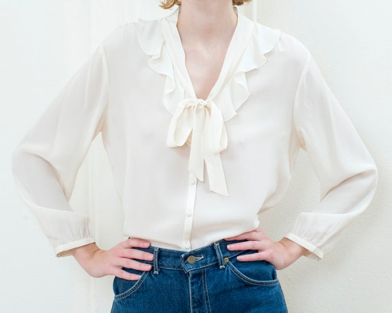 90s ivory silk ruffle collar blouse | off white si