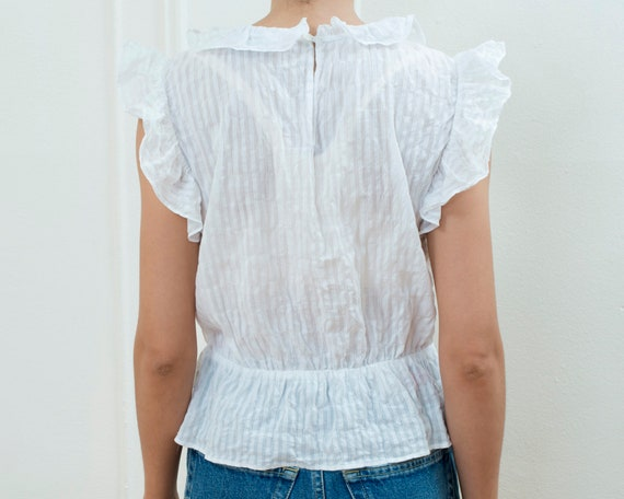 90s white cotton ruffle blouse small | sheer stri… - image 6