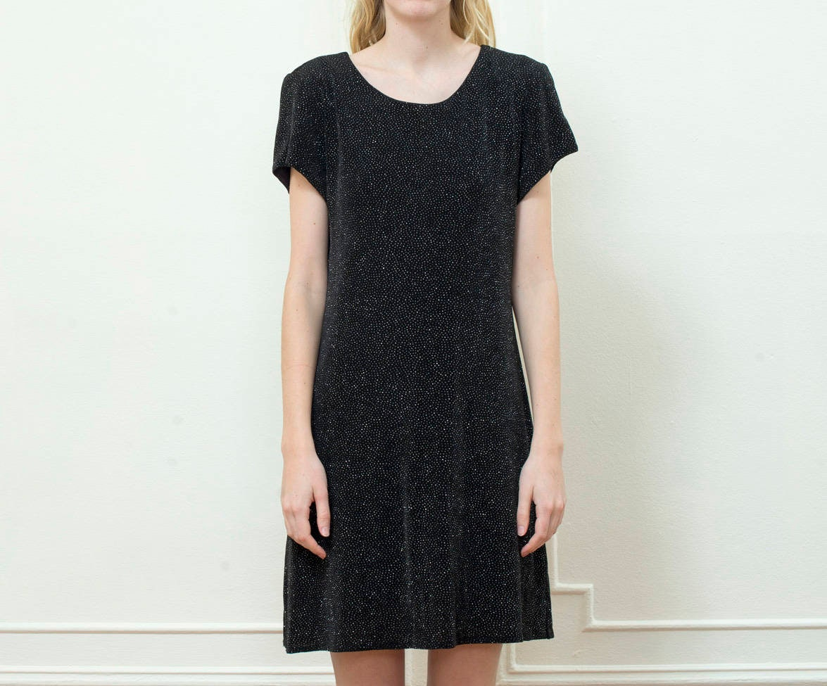 80s Dresses | Casual to Party Dresses Vintage Black Mini Dress  90S Knit Glitter Minimalist Little Short Sleeve Sparkle $25.00 AT vintagedancer.com