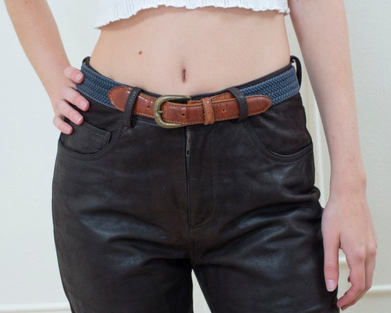 80s navy woven canvas belt | 29 waist leather and