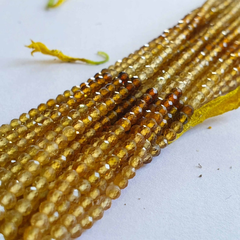 13 Inch Tourmaline Yellow Shaded Natural Beads Round Faceted Cut 2.5-3 MM DIY Supply Craft Beads for Jewelry Making supplies for necklace