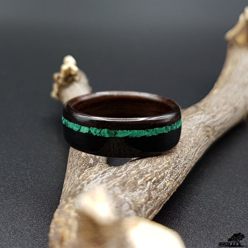 mens ring wood wedding ring engagement ring women/'s wood ring Wooden ring macassar ebony with malachtite stone inlay bentwood ring