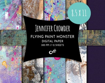 """The Flying Paint Monster 8.5"""" x 11"""" Digital Paper Pack -- Collage Paper -- Printable Papers -- Scrapbook Paper -- Instant Download"""