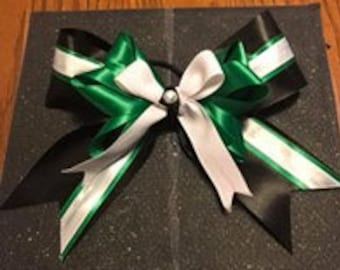 Cheer/Dance Bow: Green,White, Black.