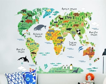 Kids world map etsy sale cartoon animals world map wall stickers for kids room decorations safari mural art zoo children home decals nursery posters gumiabroncs Gallery