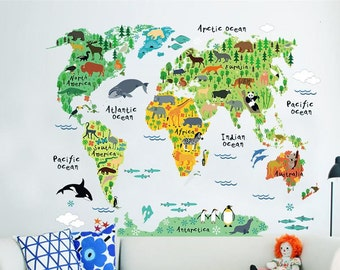 Kids World Map Etsy - Where can i buy world map wall poster