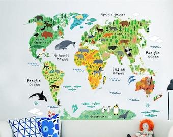 Kids World Map Etsy - World map mural for kids